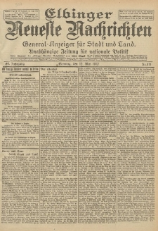Elbinger Neueste Nachrichten, Nr. 111 Sonntag 12 Mai 1912 64. Jahrgang