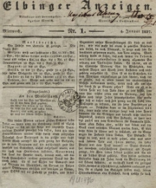 Elbinger Anzeigen, Nr. 1. Mittwoch, 4. Januar 1837