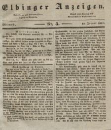 Elbinger Anzeigen, Nr. 5. Mittwoch, 18. Januar 1837