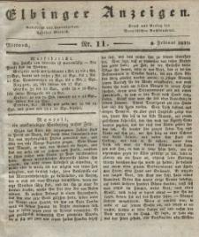 Elbinger Anzeigen, Nr. 11. Mittwoch, 8. Februar 1837