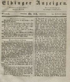 Elbinger Anzeigen, Nr. 13. Mittwoch, 15. Februar 1837