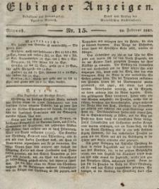 Elbinger Anzeigen, Nr. 15. Mittwoch, 22. Februar 1837