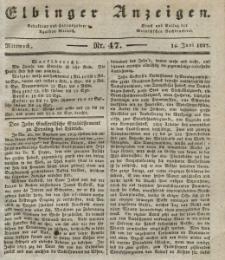 Elbinger Anzeigen, Nr. 47. Mittwoch, 14. Juni 1837