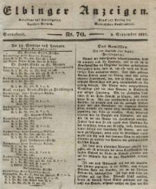 Elbinger Anzeigen, Nr. 70. Sonnabend, 2. September 1837