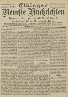 Elbinger Neueste Nachrichten, Nr. 118 Mittwoch 22 Mai 1912 64. Jahrgang