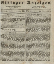 Elbinger Anzeigen, Nr. 81. Mittwoch, 11. Oktober 1837