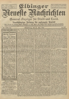 Elbinger Neueste Nachrichten, Nr. 119 Donnerstag 23 Mai 1912 64. Jahrgang