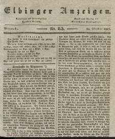 Elbinger Anzeigen, Nr. 85. Mittwoch, 25. Oktober 1837