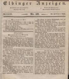 Elbinger Anzeigen, Nr. 17. Mittwoch, 28. Februar 1838