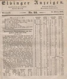 Elbinger Anzeigen, Nr. 21. Mittwoch, 14. März 1838