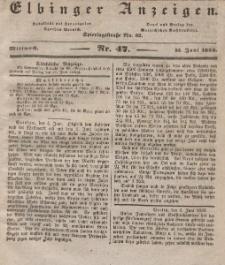 Elbinger Anzeigen, Nr. 47. Mittwoch, 13. Juni 1838