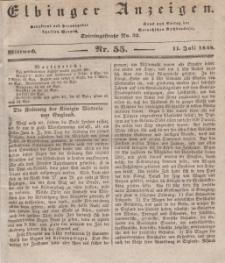 Elbinger Anzeigen, Nr. 55. Mittwoch, 11. Juli 1838
