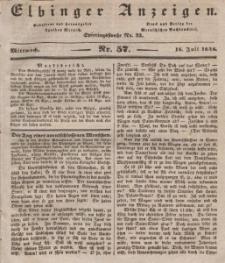 Elbinger Anzeigen, Nr. 57. Mittwoch, 18. Juli 1838