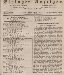 Elbinger Anzeigen, Nr. 72. Sonnabend, 8. September 1838