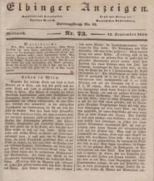 Elbinger Anzeigen, Nr. 73. Mittwoch, 12. September 1838