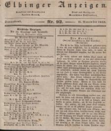 Elbinger Anzeigen, Nr. 92. Sonnabend, 17. November 1838