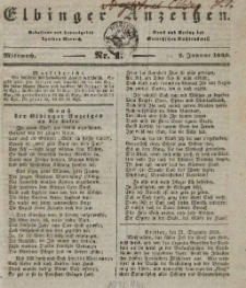 Elbinger Anzeigen, Nr. 1. Mittwoch, 2. Januar 1839
