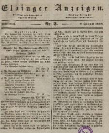 Elbinger Anzeigen, Nr. 3. Mittwoch, 9. Januar 1839