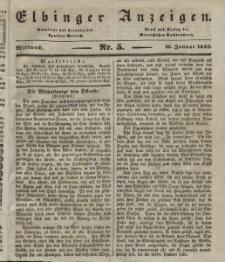 Elbinger Anzeigen, Nr. 5. Mittwoch, 16. Januar 1839