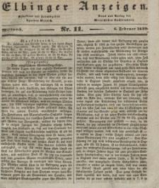 Elbinger Anzeigen, Nr. 11. Mittwoch, 6. Februar 1839