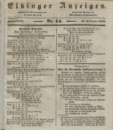Elbinger Anzeigen, Nr. 14. Sonnabend, 16. Februar 1839