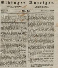 Elbinger Anzeigen, Nr. 15. Mittwoch, 20. Februar 1839