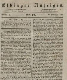 Elbinger Anzeigen, Nr. 17. Mittwoch, 27. Februar 1839