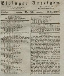 Elbinger Anzeigen, Nr. 33. Dienstag, 23. April 1839