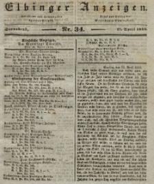 Elbinger Anzeigen, Nr. 34. Sonnabend, 27. April 1839