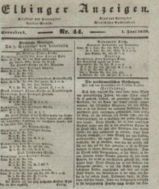 Elbinger Anzeigen, Nr. 44. Sonnabend, 1. Juni 1839