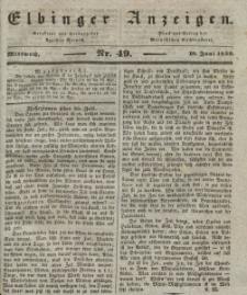 Elbinger Anzeigen, Nr. 49. Mittwoch, 19. Juni 1839