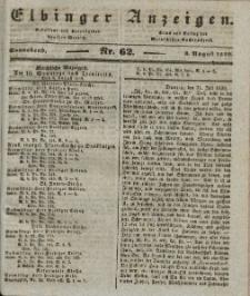 Elbinger Anzeigen, Nr. 62. Sonnabend, 3. August 1839