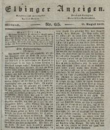 Elbinger Anzeigen, Nr. 65. Mittwoch, 14. August 1839