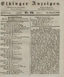 Elbinger Anzeigen, Nr. 70. Sonnabend, 31. August 1839