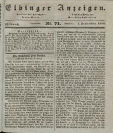 Elbinger Anzeigen, Nr. 71. Mittwoch, 4. September 1839