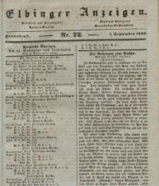 Elbinger Anzeigen, Nr. 72. Sonnabend, 7. September 1839
