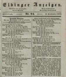 Elbinger Anzeigen, Nr. 74. Sonnabend, 14. September 1839