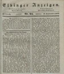 Elbinger Anzeigen, Nr. 75. Mittwoch, 18. September 1839