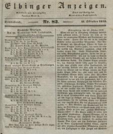 Elbinger Anzeigen, Nr. 82. Sonnabend, 12. Oktober 1839