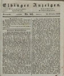 Elbinger Anzeigen, Nr. 85. Mittwoch, 23. Oktober 1839