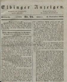 Elbinger Anzeigen, Nr. 91. Mittwoch, 13. November 1839
