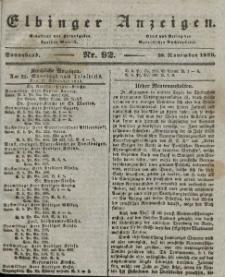 Elbinger Anzeigen, Nr. 92. Sonnabend, 16. November 1839