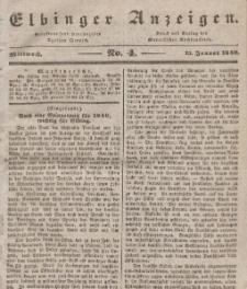 Elbinger Anzeigen, Nr. 4. Mittwoch, 15. Januar 1840
