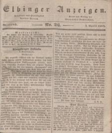 Elbinger Anzeigen, Nr. 26. Mittwoch, 1. April 1840