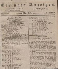Elbinger Anzeigen, Nr. 30. Mittwoch, 15. April 1840
