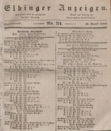 Elbinger Anzeigen, Nr. 31. Sonnabend, 18. April 1840