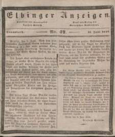 Elbinger Anzeigen, Nr. 47. Sonnabend, 13. Juni 1840