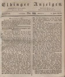 Elbinger Anzeigen, Nr. 52. Mittwoch, 1. Juli 1840
