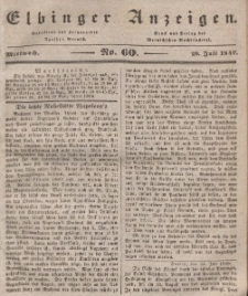 Elbinger Anzeigen, Nr. 60. Mittwoch, 29. Juli 1840