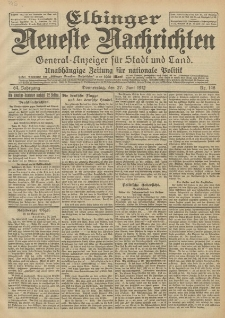 Elbinger Neueste Nachrichten, Nr. 148 Donnerstag 27 Juni 1912 64. Jahrgang